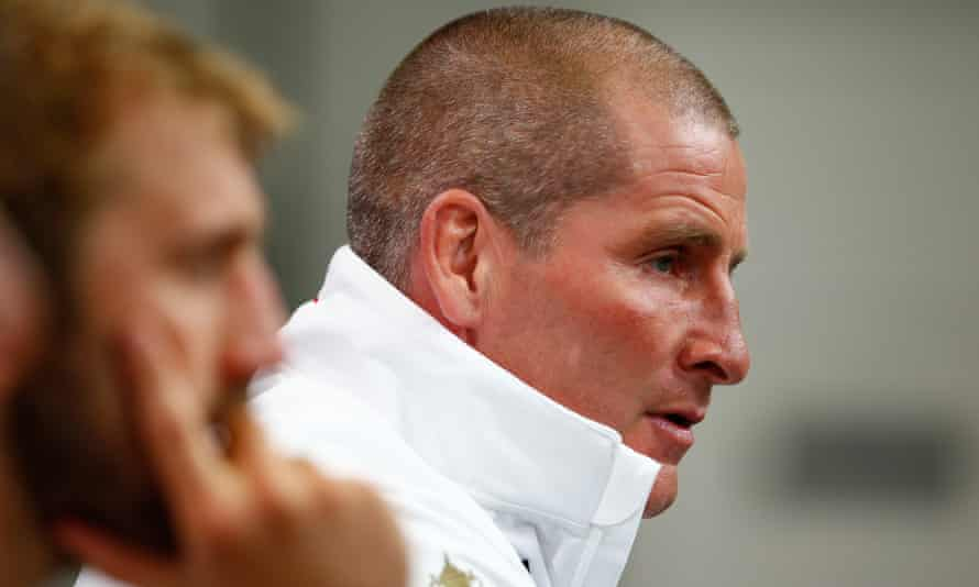 England's head coach Stuart Lancaster and captain Chris Robshaw show the shock of the Rugby World Cup defeat to Wales at Twickenham.