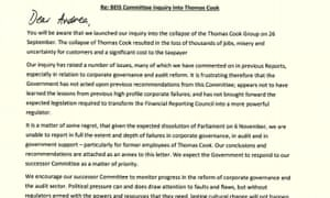 Letter from BEIS committee to business secretary