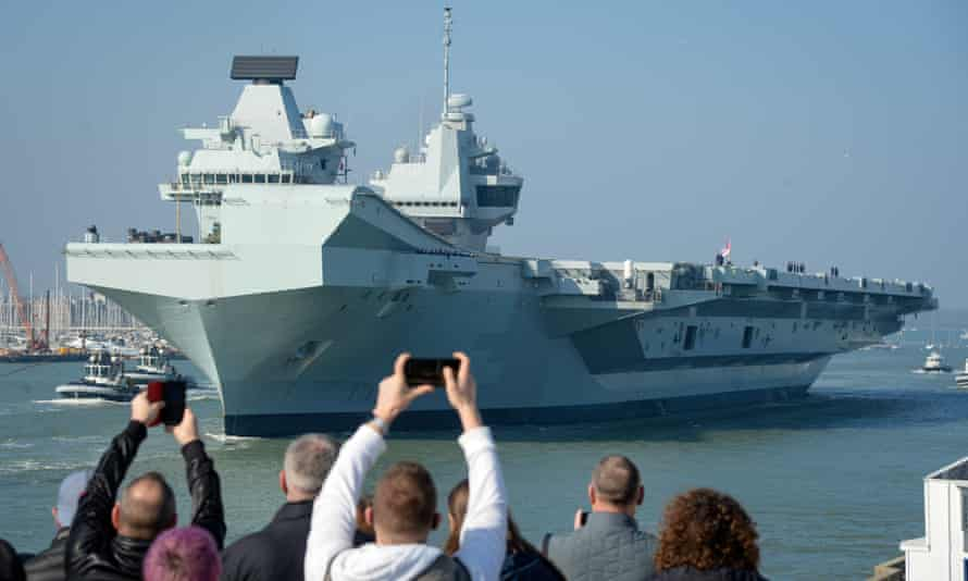 The £3bn aircraft carrier, HMS Queen Elizabeth, in Portsmouth on 1 March 2021.