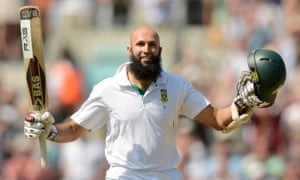 Hashim Amla celebrates after hitting a triple century for South Africa against England at the Oval in 2012.