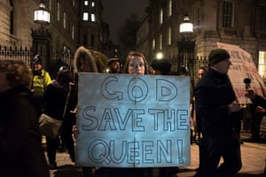 Concern for the Queen outside Downing Street