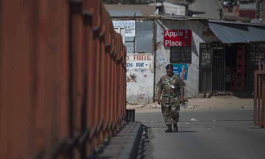 A member of the South African Defence Force in Alexandra township, Johannesburg