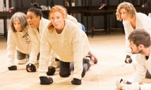 Rosalie Craig, centre, with the ensemble of As You Like It in rehearsals for the National Theatre production in 2015.