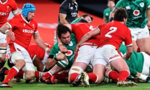 Quinn Roux scores Ireland's first try against Wales in the Autumn Nations Cup at the Aviva Stadium in Dublin.