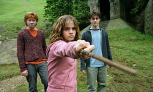 Rupert Grint, left, and Daniel Radcliffe with Emma Watson as Hermione Granger in Harry Potter and the Prisoner of Azkaban (2004).