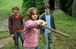Harry Potter and the Prisoner of Azkaban, 2004, starringn Rupert Grint as Ron, Emma Watson as Hermione and Daniel Radcliffe as Harry Potter.