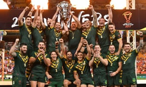 The Australia players celebrate retaining the Rugby League World Cup with a narrow victory over England in the final.