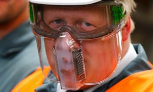 Boris Johnson wears protective equipment on a visit to a steelworks. A spokesman defended the record of the former mayor on air pollution.