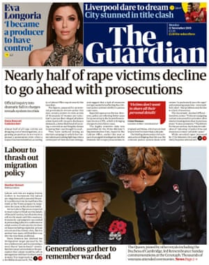 The Guardian front page, Monday 11 November 2019