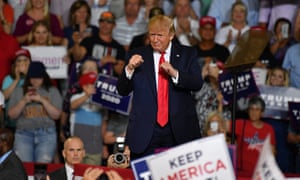 'Send her back': Trump campaigns in Greenville, North Carolina on Wednesday.