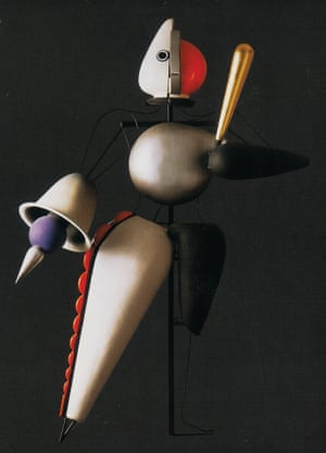 Model from The Triadic Ballet, black sequence, 1920-22The plot-free work shifts from playful dances in the yellow-hued first act, to ceremonial movement in the rose-hued second, and finally mystical dances against black backdrops in the third