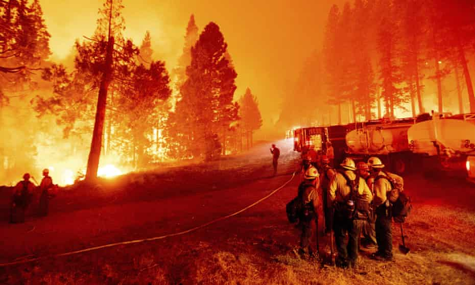 The Caldor fire burns along both sides of Highway 50 as firefighters work to stop its eastward spread in Eldorado national forest, California, last week.