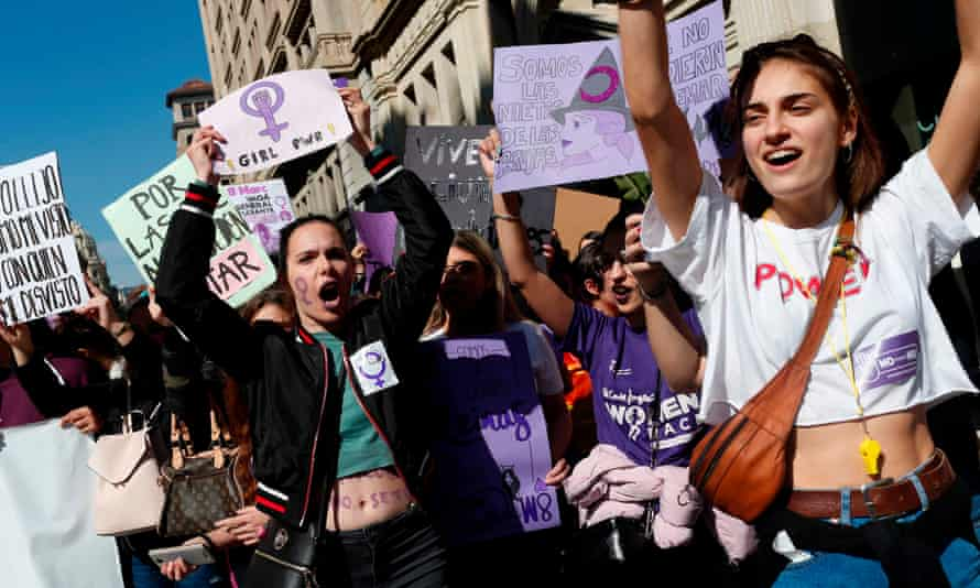 Student protesters march in Barcelona last March on International Women's Day.