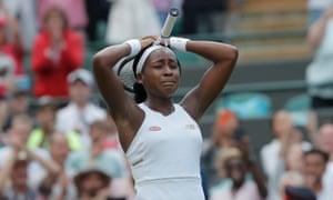Cori Gauff celebrates beating Venus Williams.