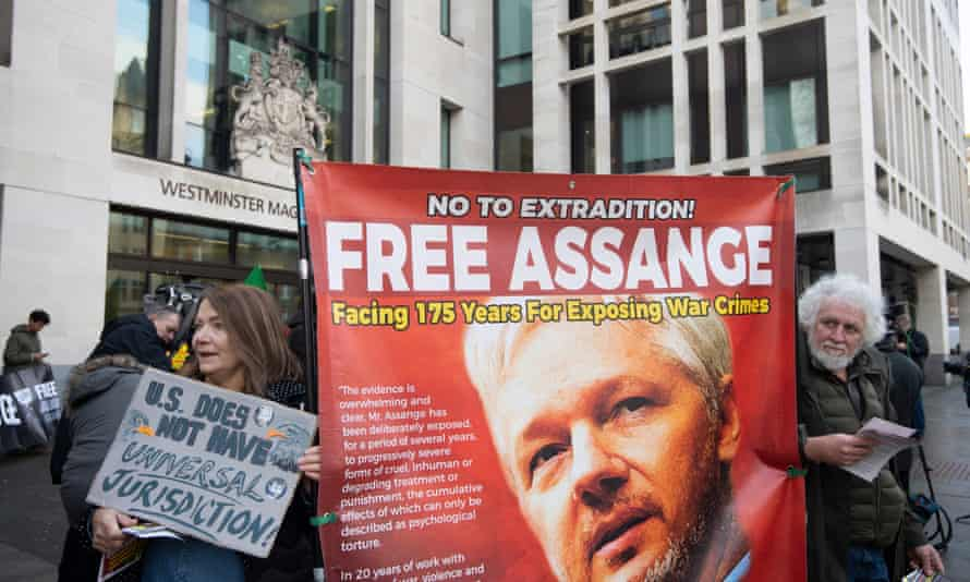 Supporters of Julian Assange at a protest in London earlier this month