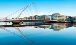 A view across the Samuel Beckett bridge in Dublin