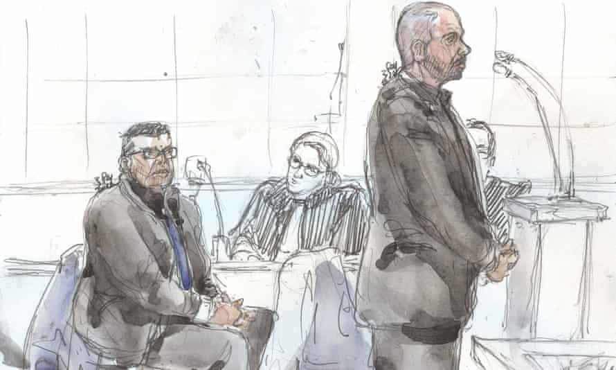 A court sketch of Antoine Q (L) and Nicolas R in the dock at the criminal court in Paris.