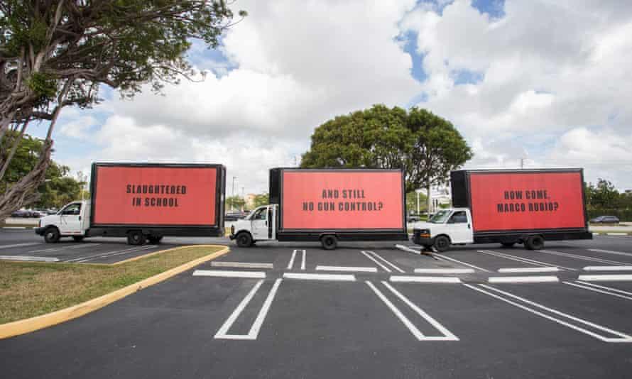A protest in Miami using the Three Billboards technique.
