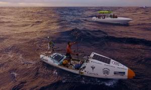 Chris Bertish aboard his custom-built craft.