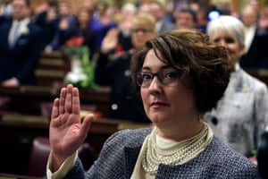 Pennsylvania state House representative Danielle Friel Otten is sworn in on 1 January 2019 at the statehouse in Harrisburg.