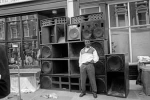 A sound system in All Saints Road, Notting Hill, during the carnival in August 1994.