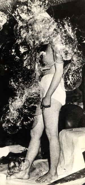 Transparent Balloons and Nude Happening (1968) was the first feminist performance in Korea, sending shockwaves throughout the society. Presented at C'est si bon, a live music stage and cafe located at Myeondong, audiences inflated transparent balloons and attached them onto Jung Kang-ja's semi-nude body. After the attached balloons had been popped, the artist left the stage. The performance highlighted the rigidity of social consciousness and the false perception of the female body
