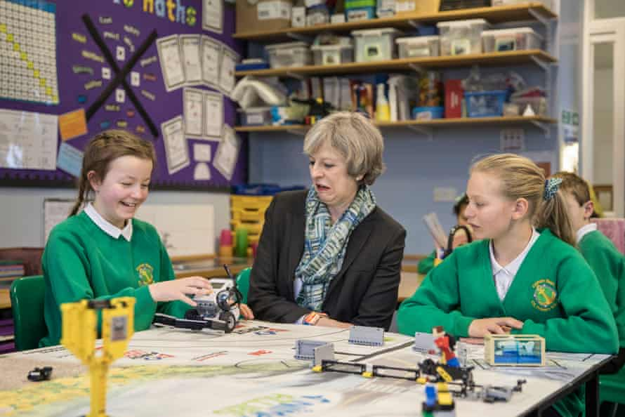 Theresa May visits a primary school in Bootle
