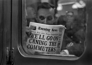 A commuter on a delayed train from London in 1976