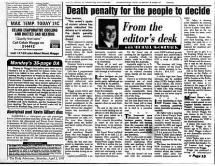 Editorial in The Daily Advertiser by Michael McCormack from April 3 1993.