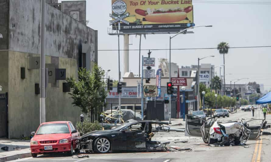 A stolen Tesla automobile wrecked on La Brea Avenue in Los Angeles after a police chase.