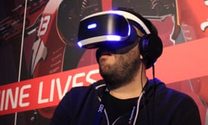 Nick Pino of TechRadar tries out a PlayStation VR video game at a Sony press event.