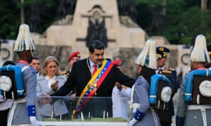 President Nicolás Maduro during a wreath laying ceremony during the 198th anniversary of the Carabobo battle in Valencia, Carabobo state, on 24 June.