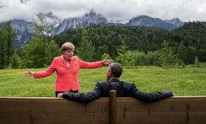 German chancellor Angela Merkel speaks with US president Barack Obama during the G-7 summit.