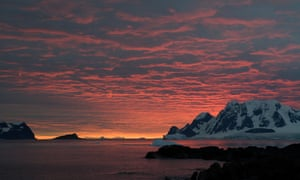 Sunset over the Antarctic Peninsula.