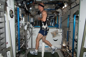 ISS036-E-005384 (2 June 2013) --- In the Tranquility node of the Earth-orbiting International Space Station, European Space Agency astronaut Luca Parmitano exercises on the Combined Operational Load Bearing External Resistance Treadmill (COLBERT), technically named the Treadmill 2 and abbreviated as T2. It is a treadmill for use on board the orbital outpost and is designed to allow astronauts to run without vibrating delicate microgravity science experiments in adjacent labs. It was derived from the treadmill that was originally taken to the station. COLBERT/T2 uses a different kind of vibration-suppression system than the original. Parmitano has been on board the orbital outpost for about three days and will continue his stay into November.