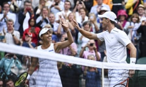 Jamie Murray and Martina Hingis celebrate their win in the Wimbledon mixed-doubles semi-finals