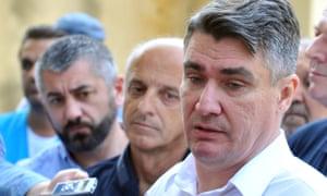 Zoran Milanovic gives a media statement as he visits Beli Manastir refugee transit centre.