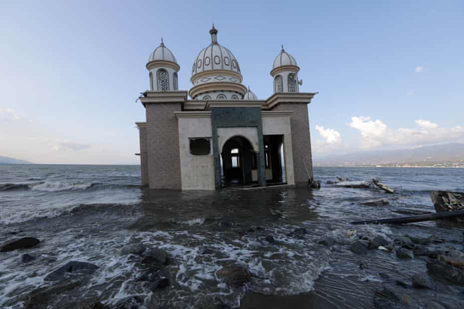 A damaged mosque near the Talise beach in Palu city, Central Sulawesi, Indonesia