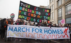 Campaigners march on London's City Hall to demand solutions to the housing crisis<br>