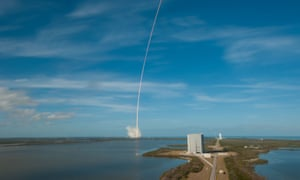SpaceX's Falcon Heavy rocket lifts off from Kennedy Space Center.