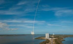 SpaceX's Falcon Heavy rocket blasting off last week.