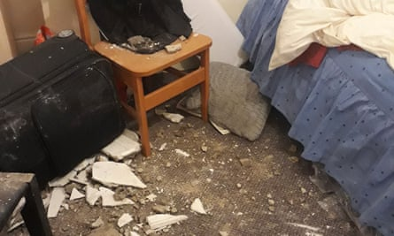 An asylum seeker's room in Greater Manchester where the ceiling collapsed twice in six months