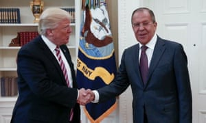 US president Donald Trump meeting the Russian foreign minister Sergey Lavrov in the Oval Office.