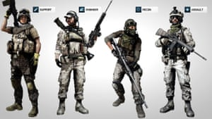 Battlefield character classes … many young gamers learn about weaponry in huge detail.