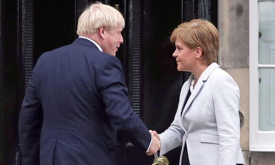 Nicola Sturgeon and Boris Johnson outside Bute House in Edinburgh in 2019.