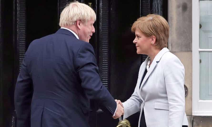 Nicola Sturgeon and Boris Johnson outside Bute House in Edinburgh, July 2020.