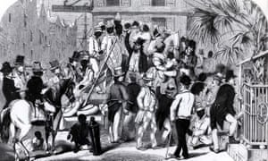 A white man sells black slaves at a sale in Charleston, South Carolina. Charleston. At one point 35-40% of slaves entered the US through the city.