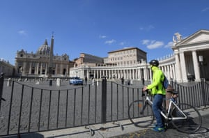 St.Peter's Square, Vatican A man is seen next to the empty St. Peter's Square, on the sixth day of an unprecedented lockdown across of all Italy imposed to slow the outbreak of coronavirus in Vatican, as seen from Rome