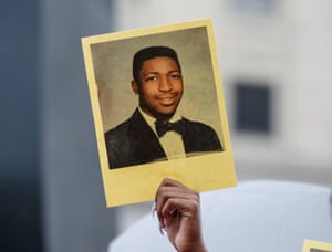 New York, US A photograph of Eric Garner on the fifth anniversary of his death
