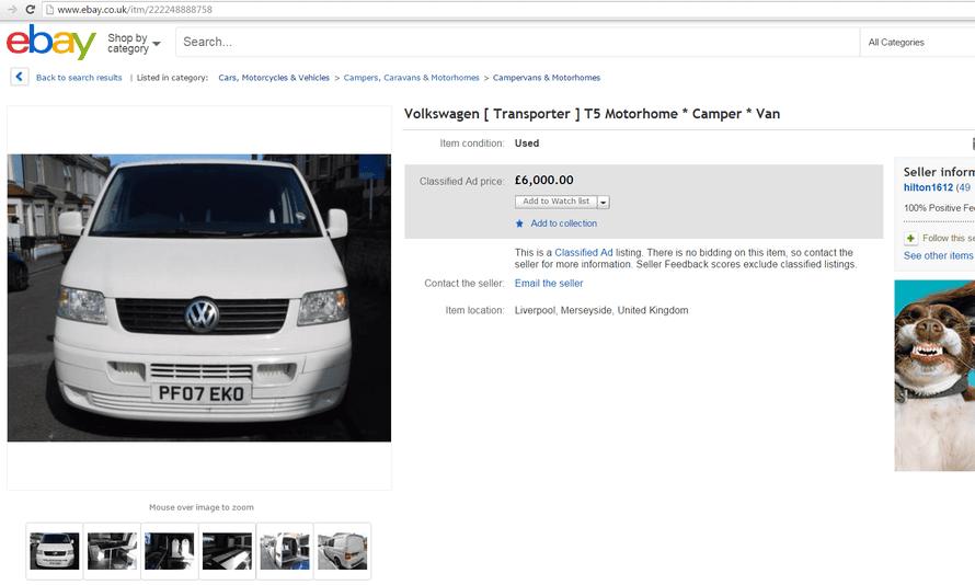 A fake eBay listing
